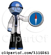 Blue Doctor Scientist Man Holding A Large Compass