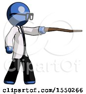 Blue Doctor Scientist Man Pointing With Hiking Stick