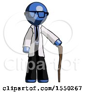 Blue Doctor Scientist Man Standing With Hiking Stick