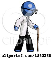 Blue Doctor Scientist Man Walking With Hiking Stick