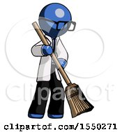 Blue Doctor Scientist Man Sweeping Area With Broom
