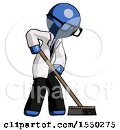 Blue Doctor Scientist Man Cleaning Services Janitor Sweeping Side View