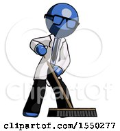Blue Doctor Scientist Man Cleaning Services Janitor Sweeping Floor With Push Broom