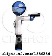 Blue Doctor Scientist Man Firing A Handgun