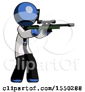 Blue Doctor Scientist Man Shooting Sniper Rifle