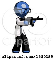 Blue Doctor Scientist Man Shooting Automatic Assault Weapon