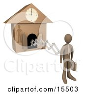 Brown Businesman In A Suit Holding A Briefcase And Sticking Out From An Arm Of A Cuckoo Clock Upon The Hour Of 9am Symbolising The Start Of A New Work Day Or Punctuality Clipart Illustration Image by 3poD