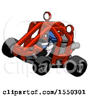 Blue Doctor Scientist Man Riding Sports Buggy Side Top Angle View