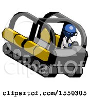 Blue Doctor Scientist Man Driving Amphibious Tracked Vehicle Top Angle View