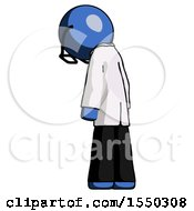 Blue Doctor Scientist Man Depressed With Head Down Back To Viewer Left