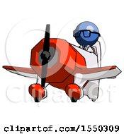 Blue Doctor Scientist Man Flying In Geebee Stunt Plane Viewed From Below