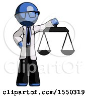Blue Doctor Scientist Man Holding Scales Of Justice