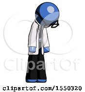 Blue Doctor Scientist Man Depressed With Head Down Turned Right