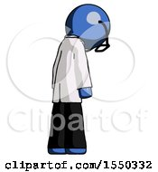 Blue Doctor Scientist Man Depressed With Head Down Back To Viewer Right