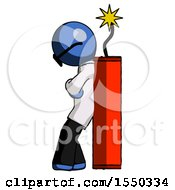Blue Doctor Scientist Man Leaning Against Dynimate Large Stick Ready To Blow