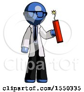 Blue Doctor Scientist Man Holding Dynamite With Fuse Lit