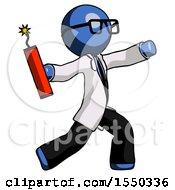Blue Doctor Scientist Man Throwing Dynamite