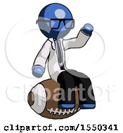 Blue Doctor Scientist Man Sitting On Giant Football