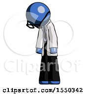Blue Doctor Scientist Man Depressed With Head Down Turned Left
