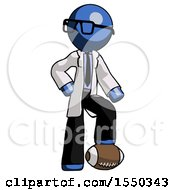 Blue Doctor Scientist Man Standing With Foot On Football
