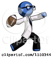 Blue Doctor Scientist Man Throwing Football