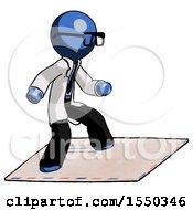 Blue Doctor Scientist Man On Postage Envelope Surfing
