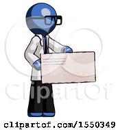 Blue Doctor Scientist Man Presenting Large Envelope
