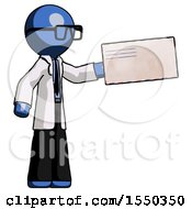 Blue Doctor Scientist Man Holding Large Envelope