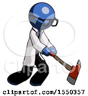 Blue Doctor Scientist Man Striking With A Red Firefighters Ax