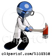 Blue Doctor Scientist Man With Ax Hitting Striking Or Chopping