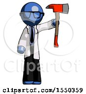 Blue Doctor Scientist Man Holding Up Red Firefighters Ax
