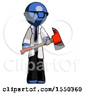 Blue Doctor Scientist Man Holding Red Fire Fighters Ax