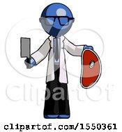 Blue Doctor Scientist Man Holding Large Steak With Butcher Knife