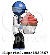 Blue Doctor Scientist Man Holding Large Cupcake Ready To Eat Or Serve
