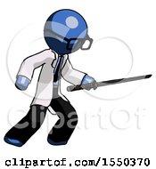 Blue Doctor Scientist Man Stabbing With Ninja Sword Katana