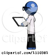 Blue Doctor Scientist Man Looking At Tablet Device Computer With Back To Viewer