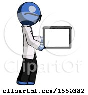 Blue Doctor Scientist Man Show Tablet Device Computer To Viewer Blank Area