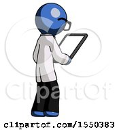 Blue Doctor Scientist Man Looking At Tablet Device Computer Facing Away