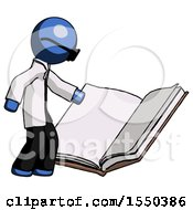 Poster, Art Print Of Blue Doctor Scientist Man Reading Big Book While Standing Beside It