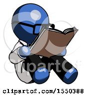 Poster, Art Print Of Blue Doctor Scientist Man Reading Book While Sitting Down