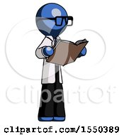 Poster, Art Print Of Blue Doctor Scientist Man Reading Book While Standing Up Facing Away