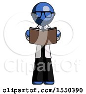 Poster, Art Print Of Blue Doctor Scientist Man Reading Book While Standing Up Facing Viewer