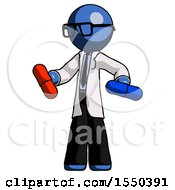 Blue Doctor Scientist Man Red Pill Or Blue Pill Concept