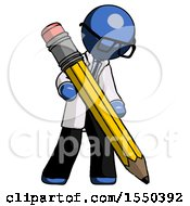 Blue Doctor Scientist Man Writing With Large Pencil