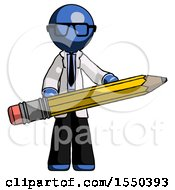 Blue Doctor Scientist Man Writer Or Blogger Holding Large Pencil