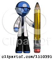 Blue Doctor Scientist Man With Large Pencil Standing Ready To Write