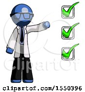 Blue Doctor Scientist Man Standing By List Of Checkmarks