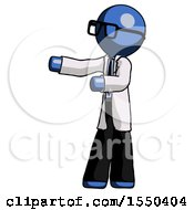 Blue Doctor Scientist Man Presenting Something To His Right