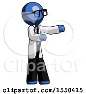 Blue Doctor Scientist Man Presenting Something To His Left