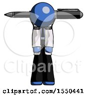 Blue Doctor Scientist Man Head Impaled With Pen